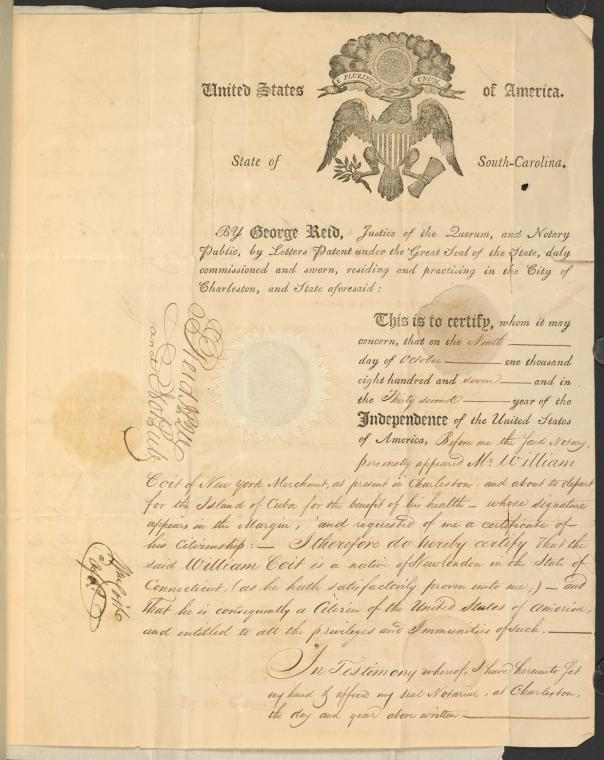 A printed and handwritten document with the seal of the United States printed at the top.
