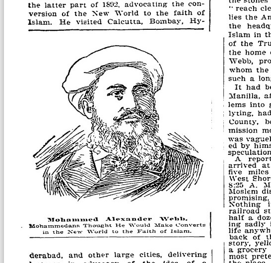 Newspaper sketch portrait of Webb, head and shoulders. He is wearing a turban and a suit.