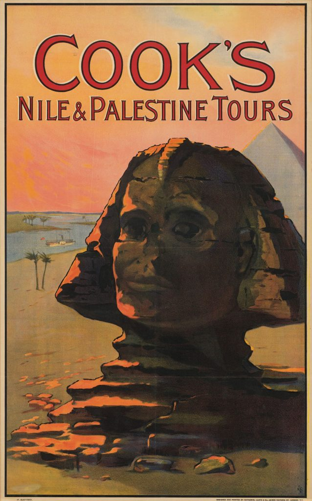 "Poster for Cook's Travel company, includes an image of the Sphinx and a pyramid and the words ""Cook's Nile & Palestine Tours."""