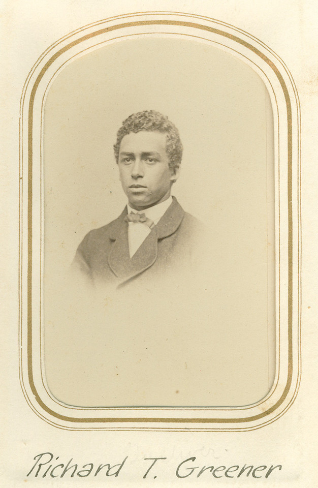 Head and shoulders portrait of a young Richard Greener.